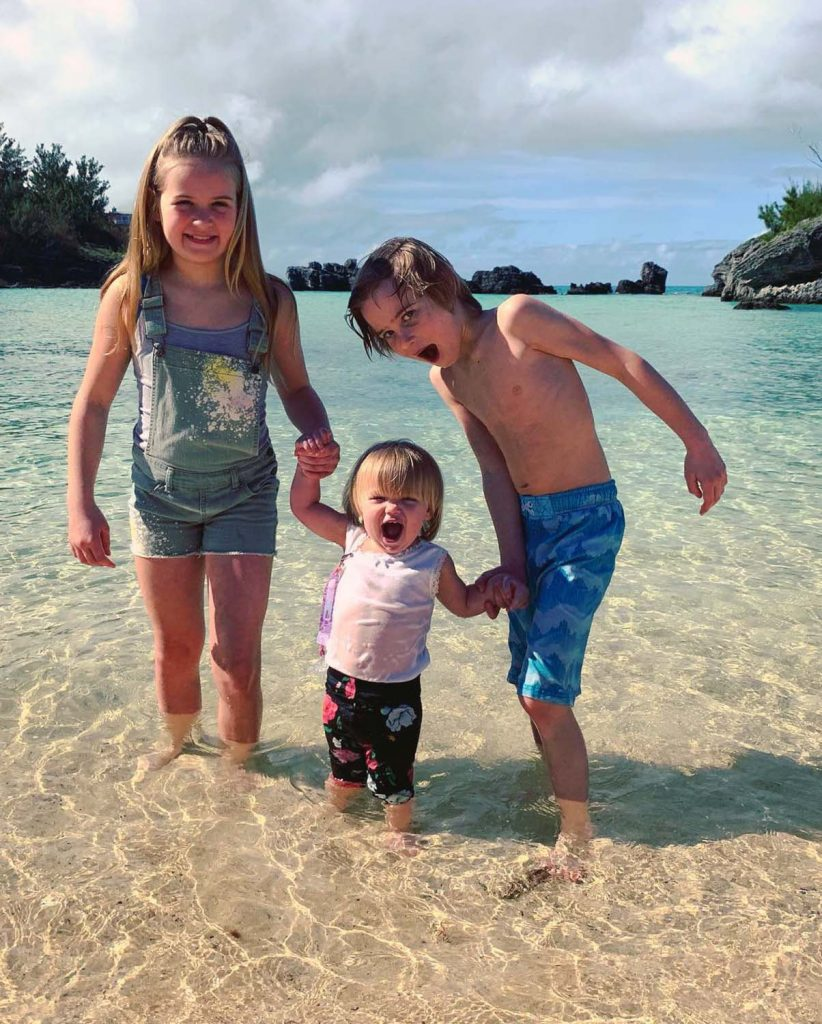 Photo by Stacy K - Hazel, Norah, and Samson - First time in the water. Norah went in full blast, fully clothed, no looking back!